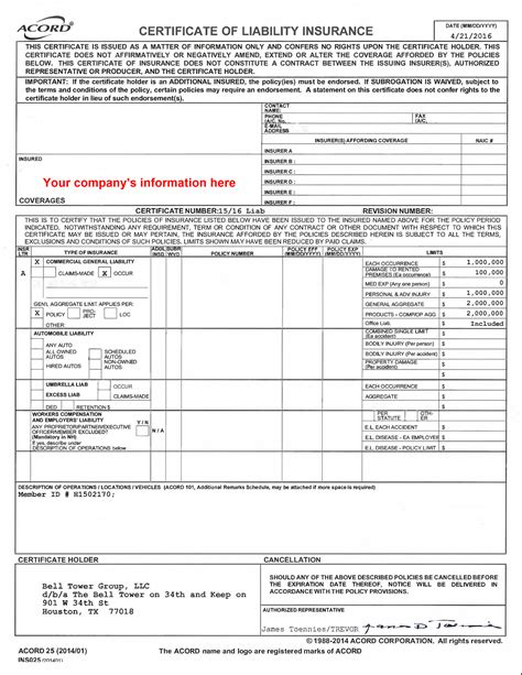 certificate  liability insurance wedding
