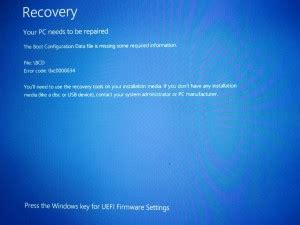 windows   boot configuration data  missing  required information