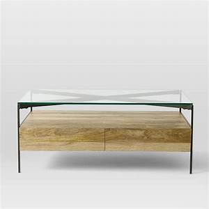 glass topped industrial storage coffee table west elm With industrial glass top coffee table