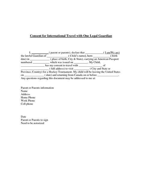 letter of consent for travel of a minor child best photos of letter of consent for travel travel