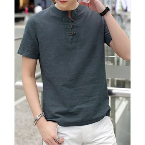 stylish stand collar solid color button design slimming short sleeve cotton linen t shirt for