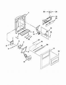Dispenser Front Parts Diagram  U0026 Parts List For Model Ksrt25fwms01 Kitchenaid