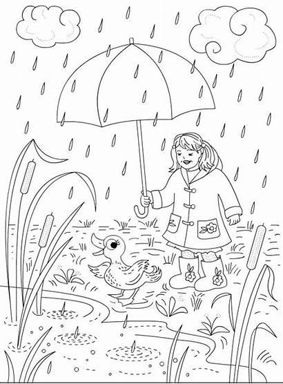 Rainy Coloring Rain Pages Season Days Drawing