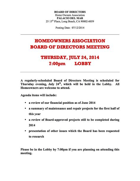 hoa board meeting july   pm   place
