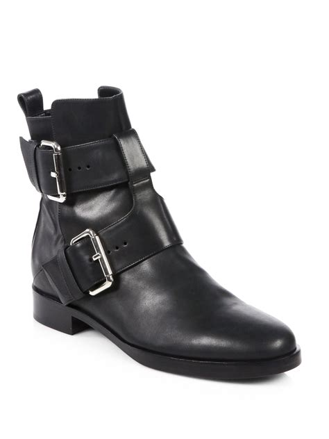 buckle motorcycle boots pierre hardy leather double buckle motorcycle boots in