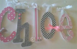 Pink and grey nursery decor single letter baby girl for Wooden letters for baby nursery
