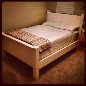 Diy vintage white country bed frame full size made from for Homemade 2x4 furniture