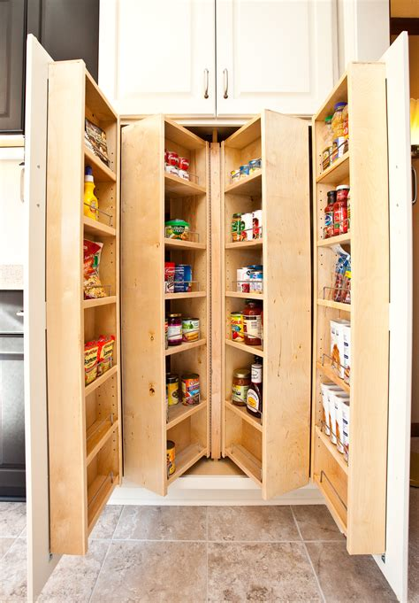 Fold Out Brown Wooden Pantry Shelves With Double White