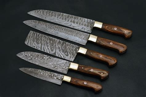 damascus knife steel knives chef custom kitchen sets etsy supplies