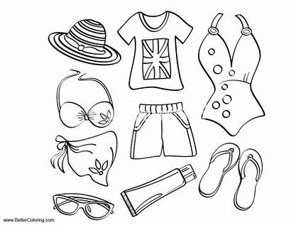 Coloring Clothes Pages Summer Beach Fun Printable