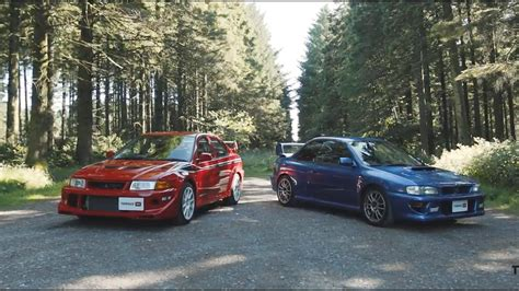 subaru evo subaru impreza 22b faces off against mitsubishi lancer