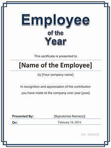 Employee Certificate Templates Free Employee Of The Year Certificate Certificate Templates