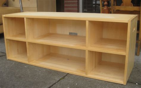 Attractive Light Brown Unfinished Wood Long Low Bookcase