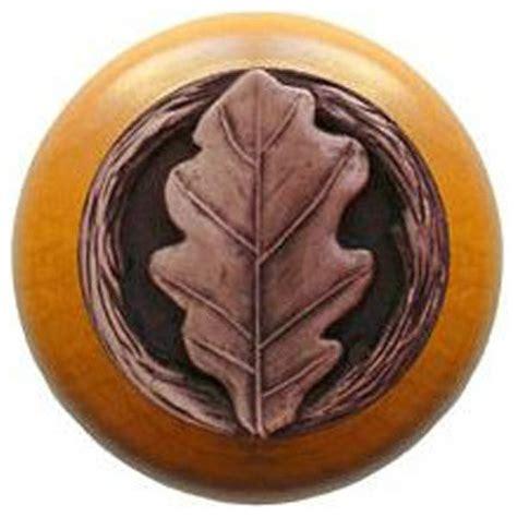 oak leaf wood knob antique brass maple wood finish rustic cabinet  drawer knobs