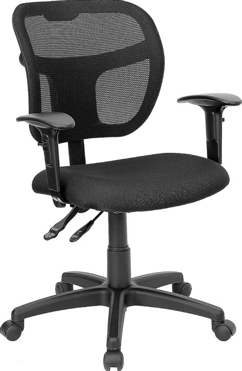 mid back mesh swivel task chair with black fabric padded