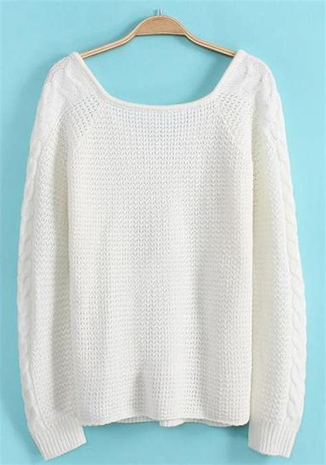 sweaters com white plain sleeve sweater pullovers sweaters tops