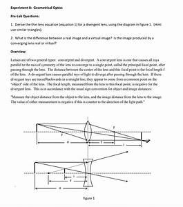 Solved  1  Derive The Thin Lens Equation  Equation 1  For
