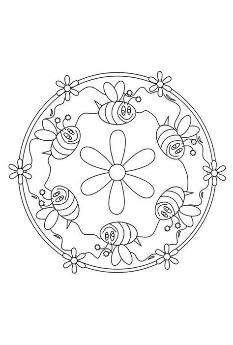 Kleurplaat Mandala Kleuters by Mandala Bijtjes Thema Insecten Kleuters