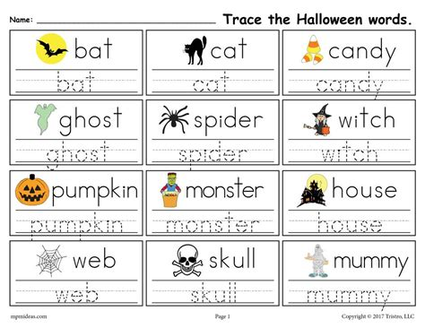 printable halloween words handwriting tracing worksheet