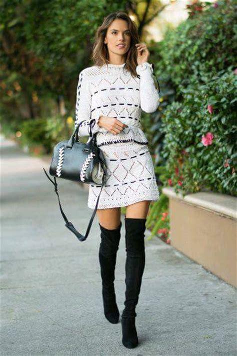 outfits  botas largas tendencia invierno