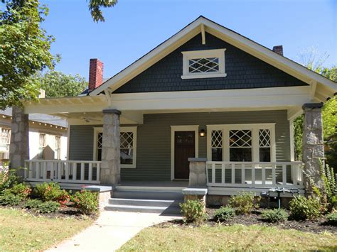 Craftsman Style Porches And Columns by Classic Oakhurst Bungalow With Wide Welcoming Front Porch