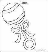 Coloring Pages Toys Rattle Template Clipart Babies Clip Library Printables Templates Sketch Popular sketch template