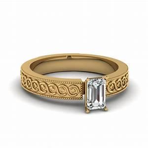 Twist Rope Design Emerald Cut Diamond Solitaire Wedding ...