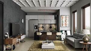 Open kitchen living room interior design open kitchen for Interior design for small living room with open kitchen