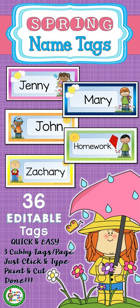 cubby or desk name tags editable pdf 2 learn 981 | a8f8dd2b7c259577df2d7452b5e39c9e