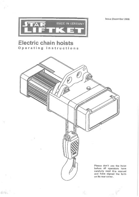 Chain Schematic Wiring by Manual For Liftket Electrical Chain Hoist