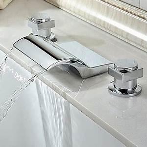 Robinet Cascade Baignoire : finition contemporaine cascade chrome robinet de baignoire robinets boutique ~ Nature-et-papiers.com Idées de Décoration