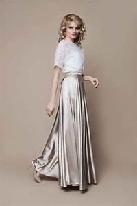 Brautkleid Vintage Schlicht : boho brautkleid gold ivory aus satin und spitze kleider ~ Watch28wear.com Haus und Dekorationen