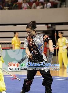 Top Black Silver Kung Fu Broadsword Costume Martial Arts Broadswords Costumes Kickboxing ...