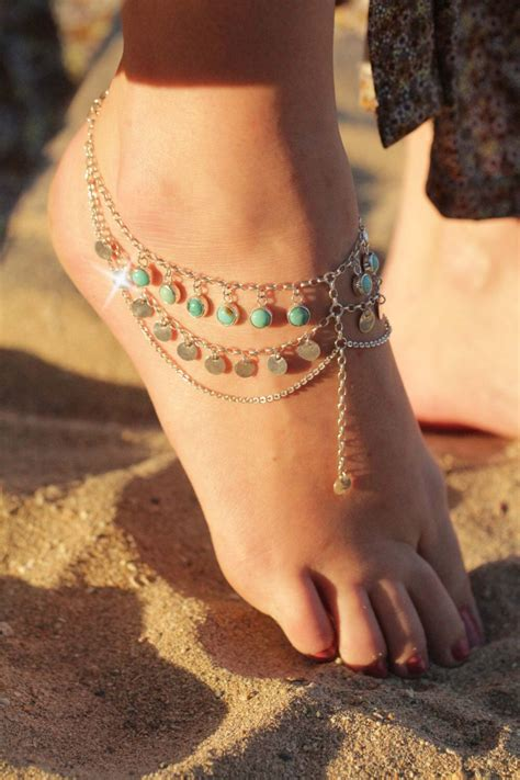 foot chain sterling foot chain wedding jewelry boho