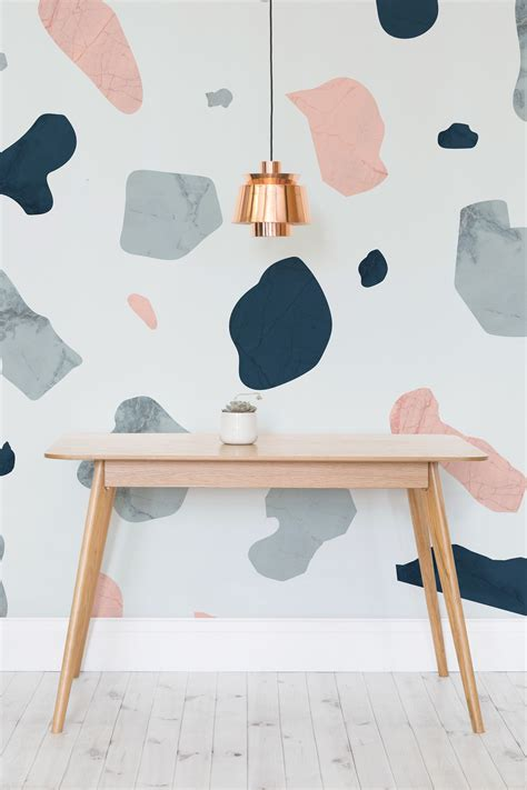 Lovely Pastel Wall Mural Design Ideas by Pink And Blue Terrazzo Wall Mural In 2019 Colour And