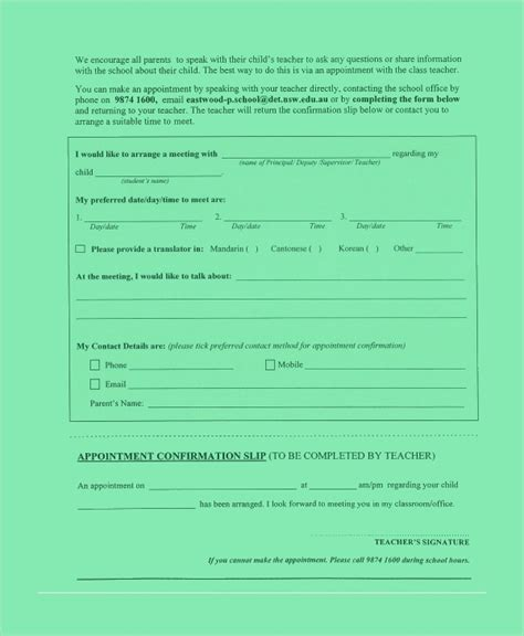 sample appointment slip template   documents