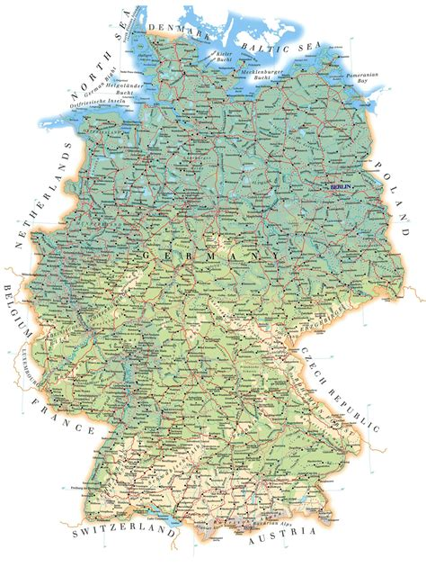 large detailed road map  germany   cities