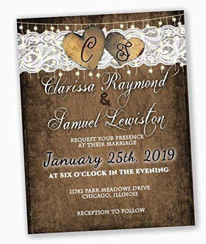 amazoncom rustic wedding invitations  rsvp cards set