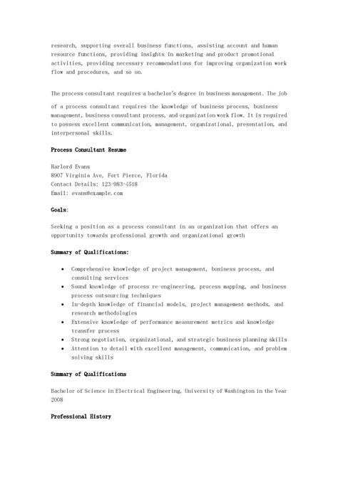 resume sles process consultant resume