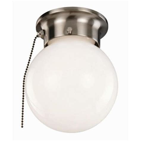 design house 1 light satin nickel ceiling light with opal