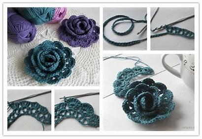 Crochet Step Ribbon Flower Tutorial Flowers Rose