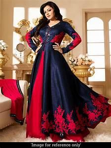 Buy Exotic International Craftsvilla Sepcial Latest Designer Embroidered Anarkali Blue Churidar