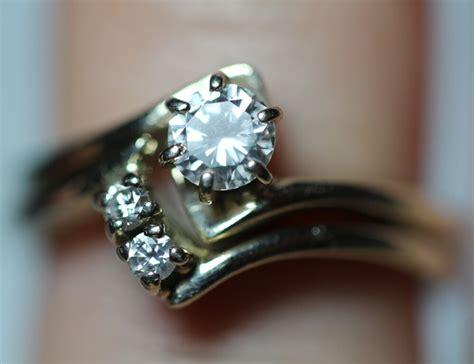 vintage ct  diamond solitaire  gold engagement