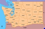 Clickable map of Washington (United States)