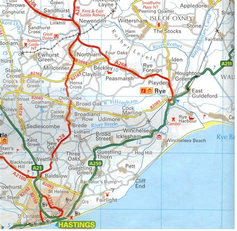 road map of southern england