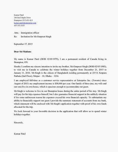 Invitations Letter To Canada