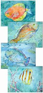 Tropical watercolors! Coral Reef Fish Prints Set of 4 by ...