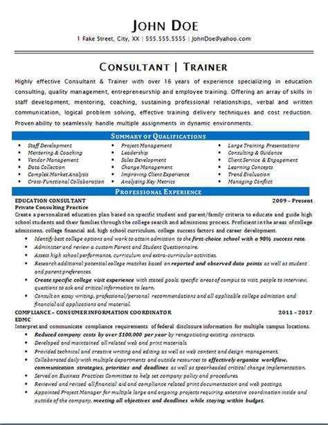 How To Put Consulting Experience On A Resume by Consultant Trainer Resume Exle Education Staff
