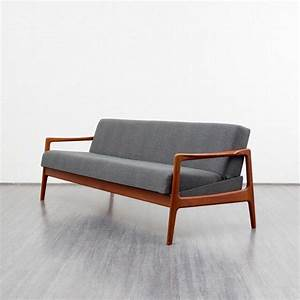 Design market scandinavian grey sofa bed in teak 1960s for Scandinavian sofa bed