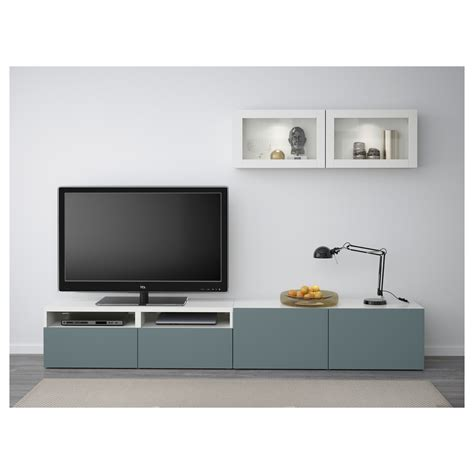 ikea bestã best 197 tv storage combination glass doors white valviken grey turquoise clear glass 240x20 40x166